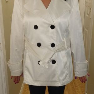 White Polyester Peacoat  Woman's Large